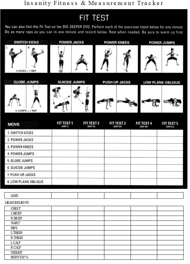 the insanity fit test sheet