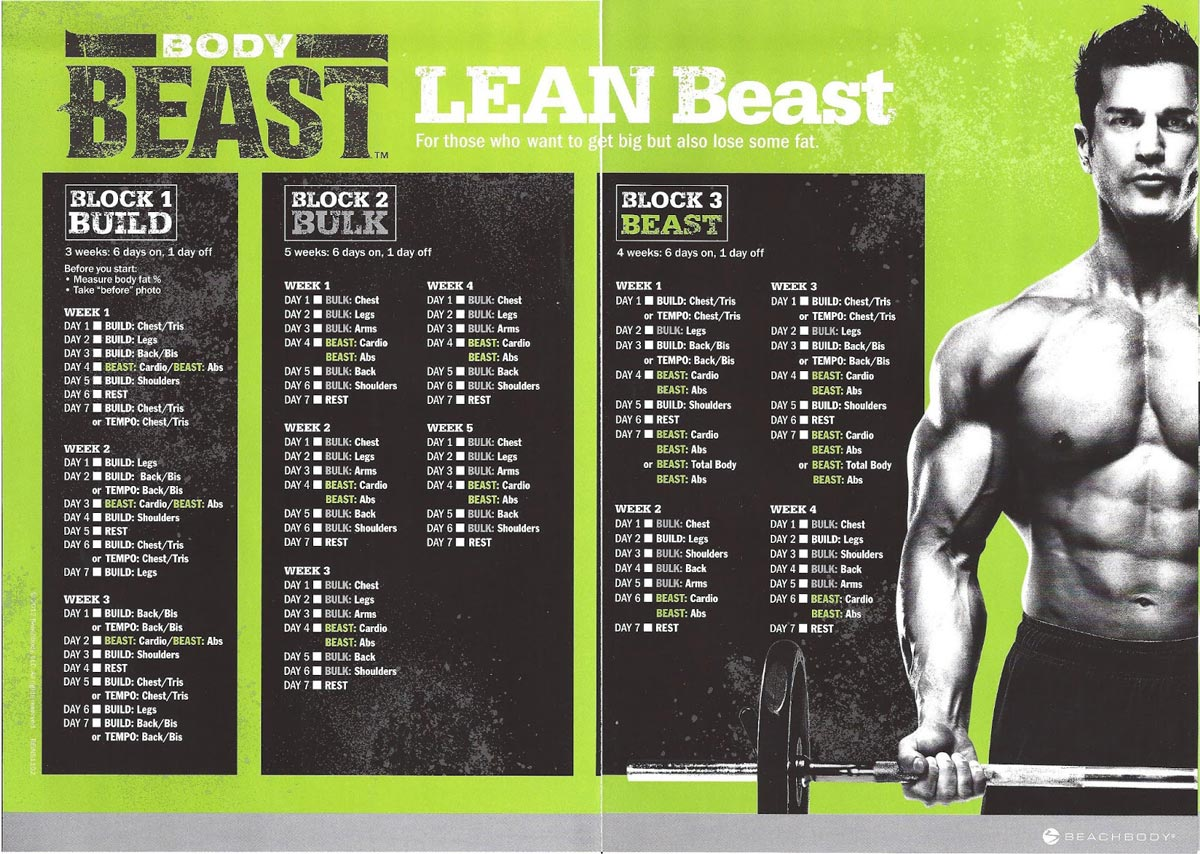 body beast workout schedule downloads: get them! | hack the gym